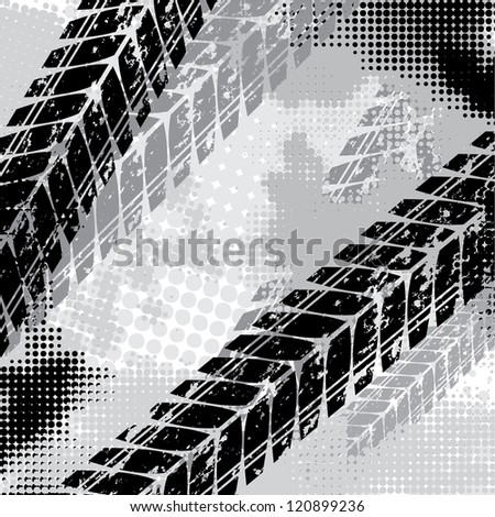 Black background with halftones and tire tracks - stock vector