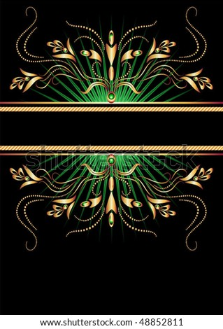 Black background with luxurious gold ornament