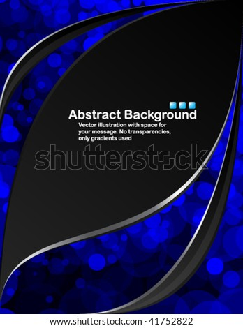 Black background with random transparent blue circles - stock vector