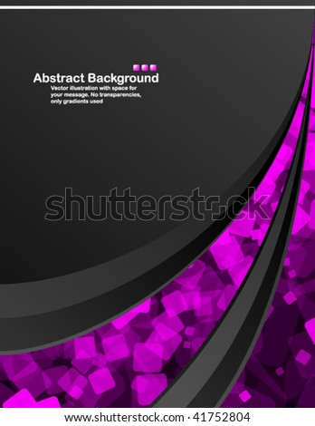 Black background with random transparent pink squares - stock vector