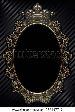 black background with royal frame - stock vector