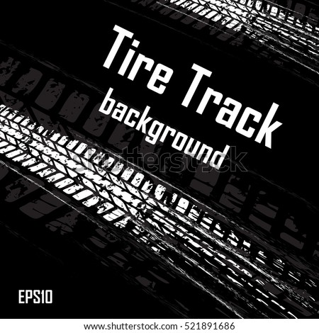 Black background with white tire tracks and sample text