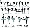 black ballerina silhouette on white background-vector - stock vector