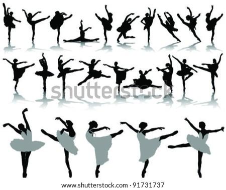 black ballerina silhouette on white background-vector - stock vector