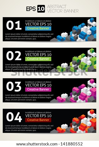 Black Banners with colorful cube - stock vector