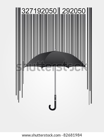 black barcode and umbrella isolated over white background. vector - stock vector