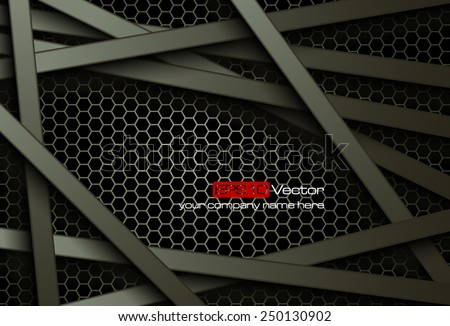 Black bars over dark honeycomb structure. Abstract technology background. Vector illustration - stock vector