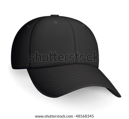 Black baseball cap, vector - stock vector