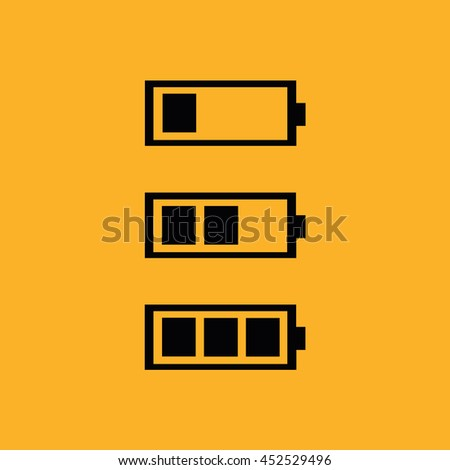 Black battery icon vector. Yellow background - stock vector