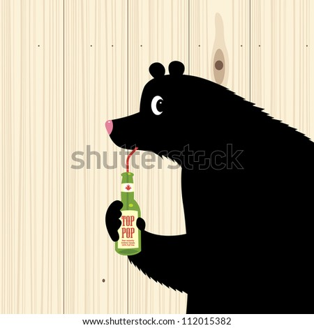 Black bear drinking from bottle on wood texture - stock vector