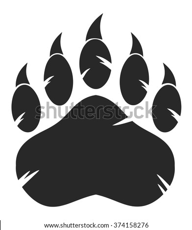 Black Bear Paw With Claws. Vector Illustration Isolated On White Background - stock vector