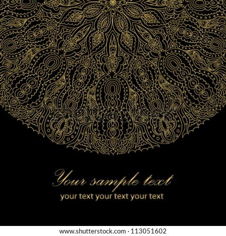 Black beautiful vintage swirl abstract gold card vector eps 8 for brochure, wallpaper, background, backdrop, banner, border, emblem, label, invitation, postcard greeting, wedding card, illustration - stock vector