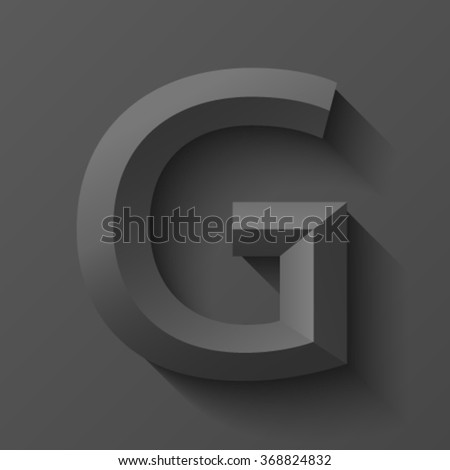 Black bevel font letter G, vector - stock vector