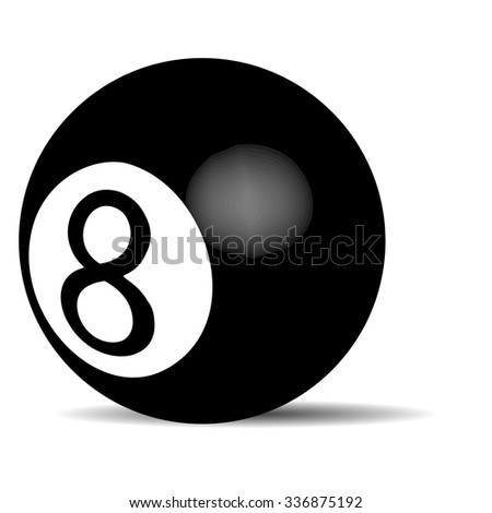 Black billiard ball Eight. Object game, pool recreation, leisure snooker. Vector art design abstract unusual fashion illustration - stock vector