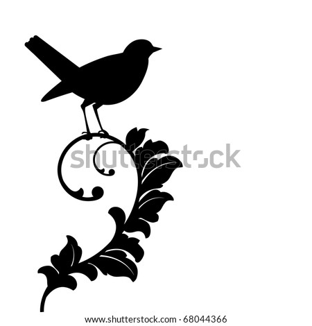 black bird (bird and plant separate) - stock vector