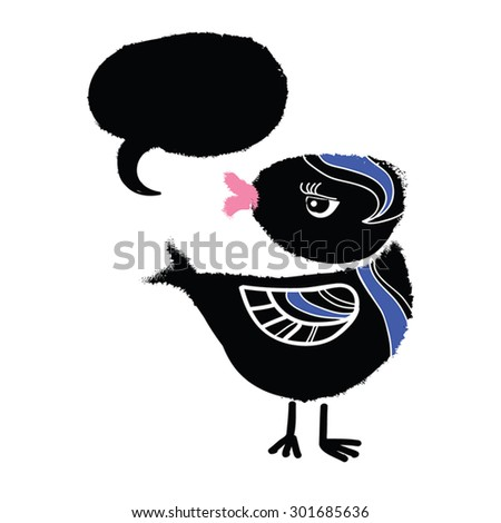Black Bird. Funny retro cartoon character of little black bird with speech bubble. Arrogant, bored emotion.Silly bird. Grunge paint with splashes. Watercolor vector illustration. Isolated on white. - stock vector