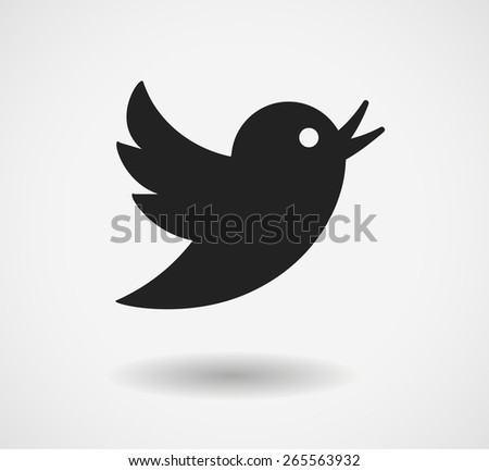 Black bird icon isolated on white background. Vector social media symbol. EPS 10 - stock vector