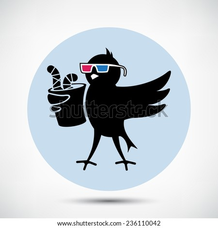 Black Bird with 3D Glasses and Cup of Worms - stock vector