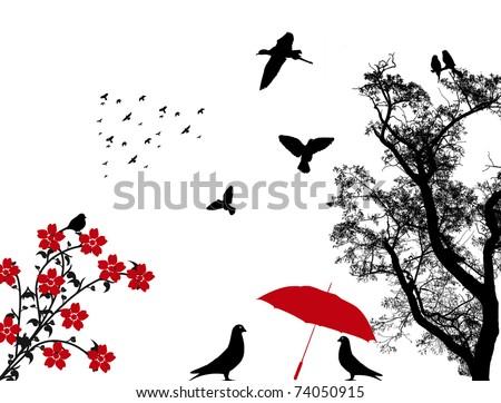 Black birds under red umbrella, vector illustration - stock vector