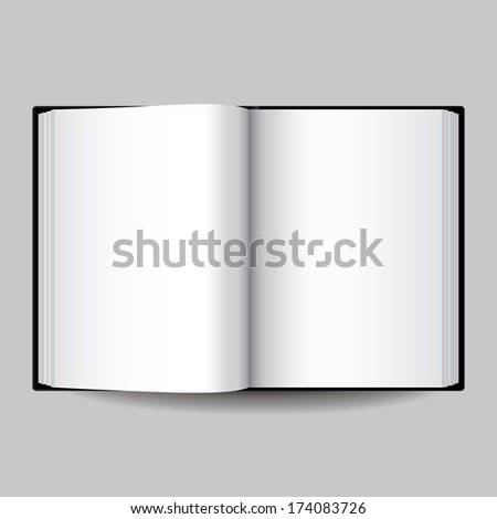 Black blank opened book isolated on grey vector illustration