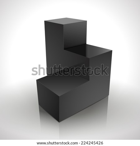 black blank stair podium isolated on white - stock vector