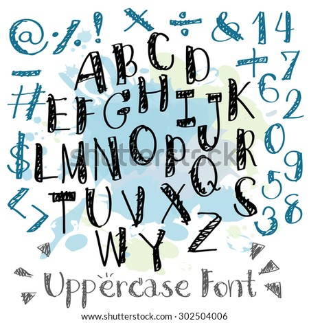 Black blue alphabet uppercase letters.Hand drawn written with a soft watercolor paint brush pencil