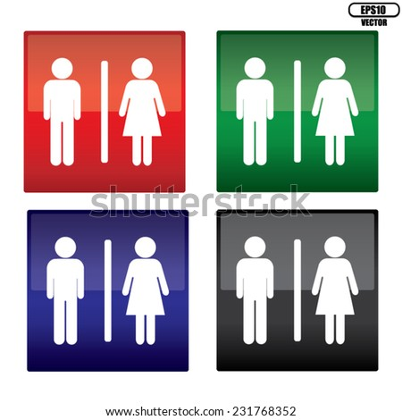 Black, Blue, Green And Red Square Toilet Sign on White Background, a man and a lady toilet sign. EPS10 Vector