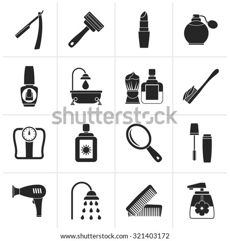 Black body care and cosmetics icons - vector icon set - stock vector