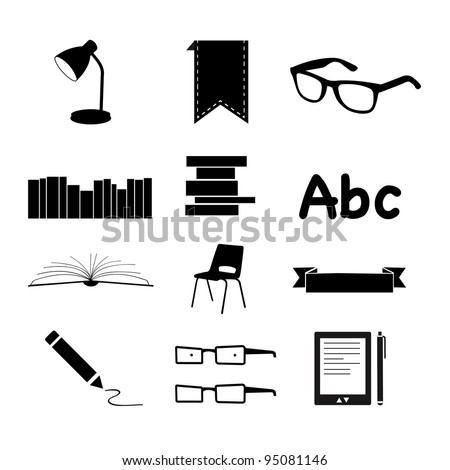 Black Books and Reading icons set - stock vector