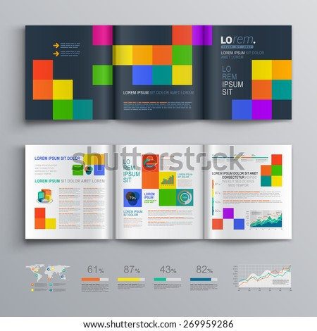 Black brochure template design with color square pattern. Cover layout and infographics - stock vector