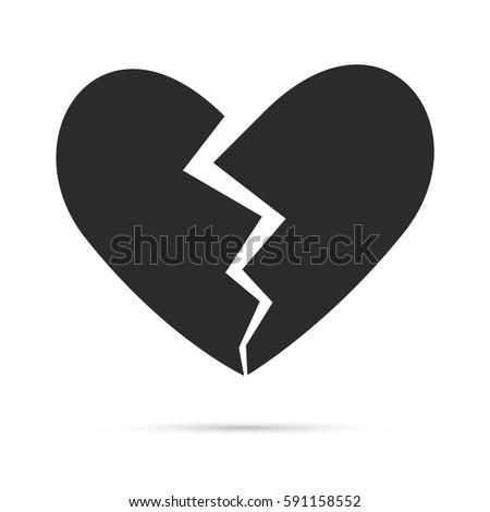 broken heart double shadow icon vector stock vector 396617257