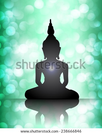 Black Buddha silhouette against blue bokeh defocused lights abstract background  - stock vector