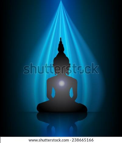 Black Buddha silhouette against dark background  - stock vector