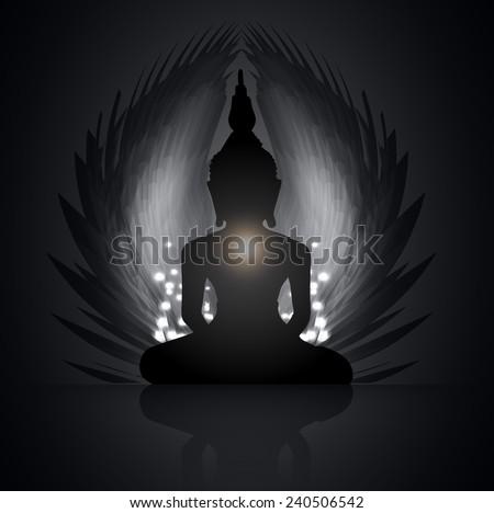Black Buddha silhouette against Dark black background - stock vector