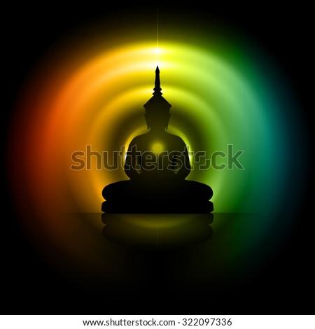 Black Buddha silhouette against Darkred yellow blue background - stock vector