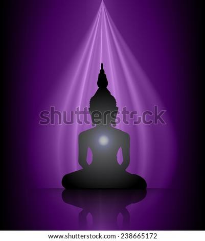 Black Buddha silhouette against purple background  - stock vector