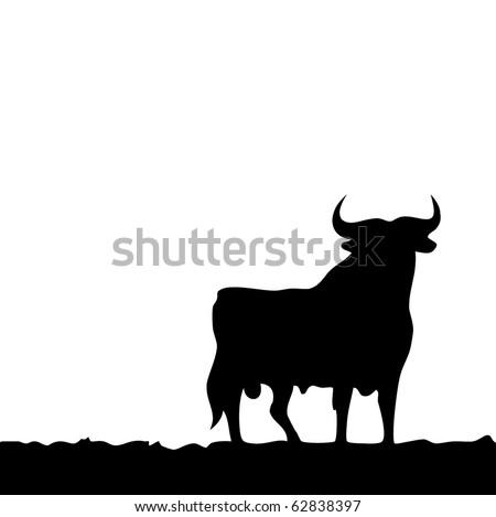 Black bull, symbol of southern Spain. Vector. - stock vector