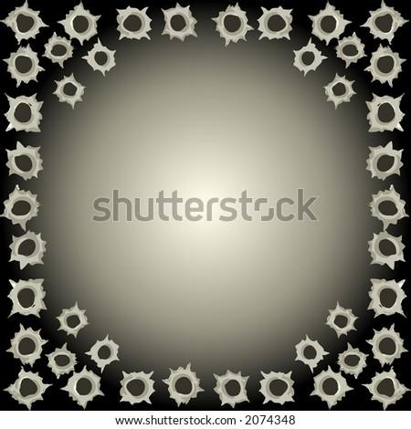 Black bullet hole background - vector illustration - stock vector