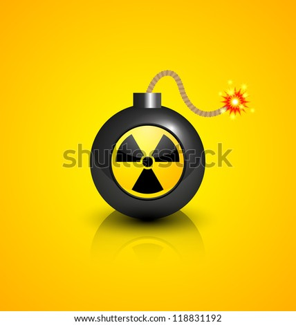Black burning bomb with nuclear symbol isolated on yellow background - stock vector
