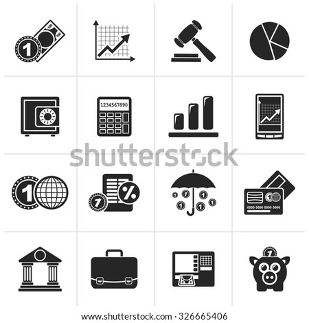 Black Business and finance icons - vector icon set - stock vector