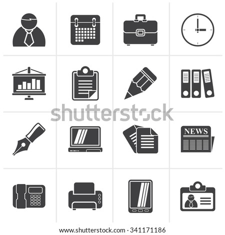 Black Business and Office Icons  - vector icon set - stock vector