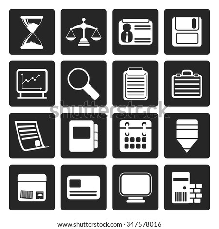 Black Business and office  Icons  vector icon set - stock vector