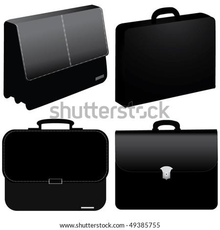 black business bag - vector - stock vector