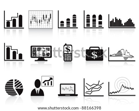 black Business charts icon - stock vector