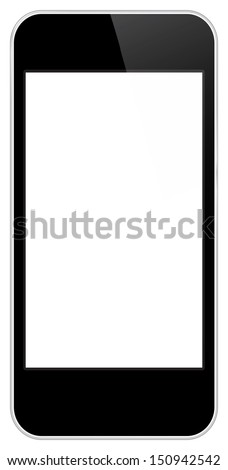Black Business Mobile Phone Vector In iPhone Style Isolated On White Background - stock vector