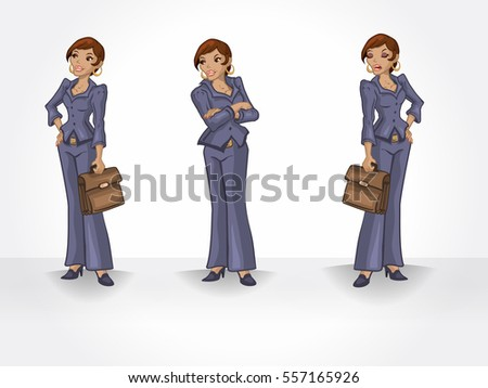 Black business woman in different poses. Executive character.