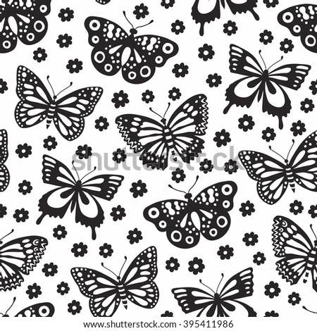 Black butterfly seamless background with flowers.Vector illustration. Surface decoration. Wrapping. - stock vector