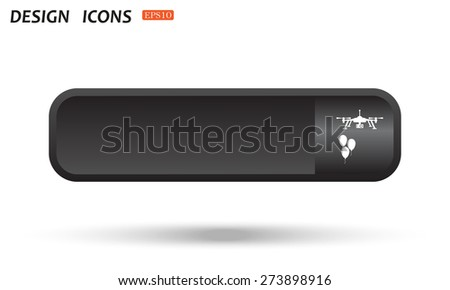 Black button for web sites on a white background with shadow.  Aerial photography. Festive balloons. Quadrocopter. icon. vector design