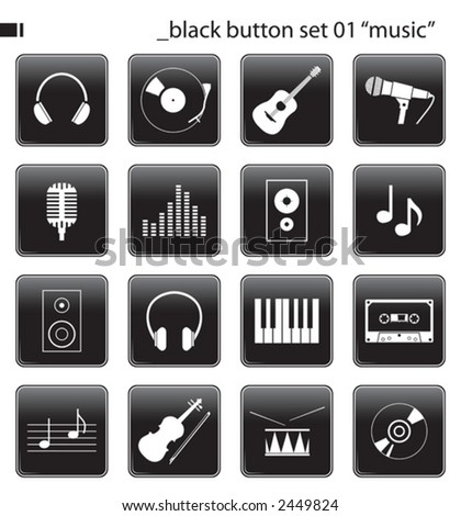 "black button set 01 ""music"" - stock vector"