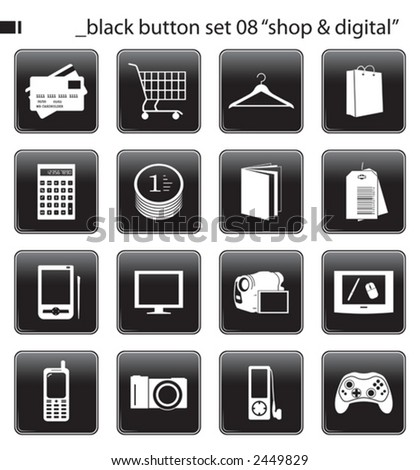 "black button set 06 ""shop & digital"" - stock vector"